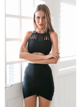 Black Mini Bandage Skirt