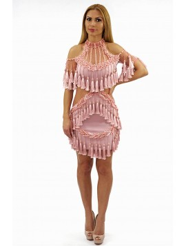 Pink Tassels Halter Neck Beaded Dress