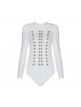 White Gold Ring Caged Long Sleeves Bodysuit