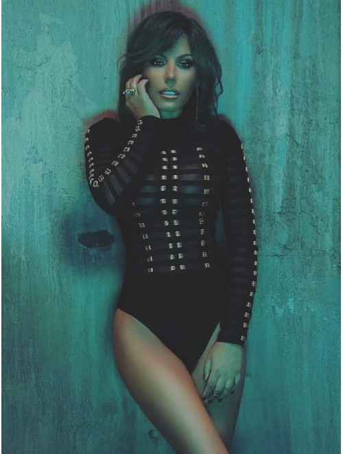 Black Gold Ring Caged Long Sleeves Bodysuit
