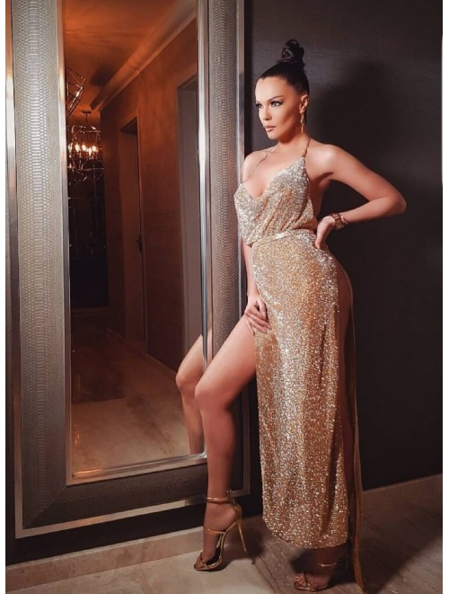 "Gold ""Galena"" Crystal Rhinestone Long Dress"