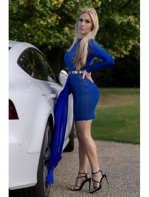"Blue ""GiGi"" Long Mesh Insert Bandage Dress"