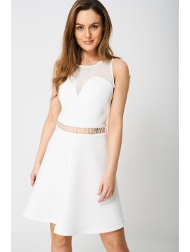 White Plunge Front And Mesh Dress