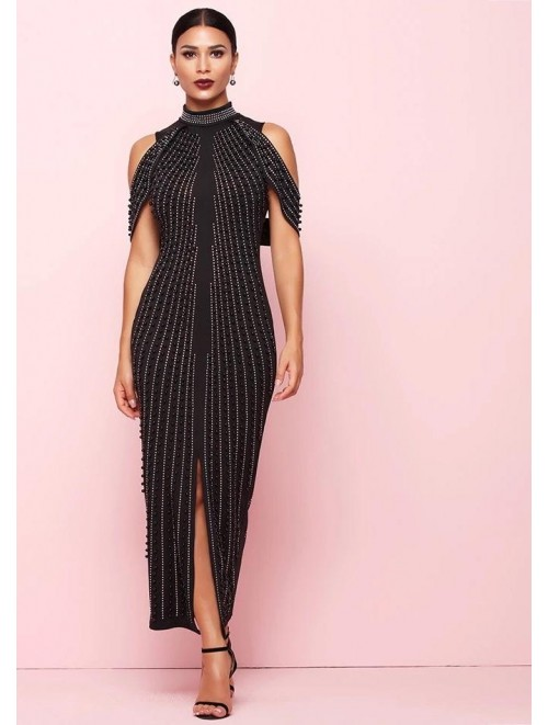 """Coco"" Black Pearl Rhinestones Embellished Long Dress"