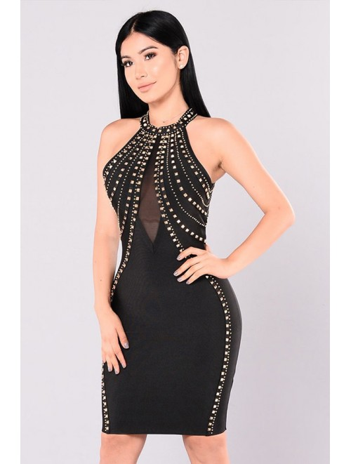 Black V-Neck Open Back Studded Bandage Dress