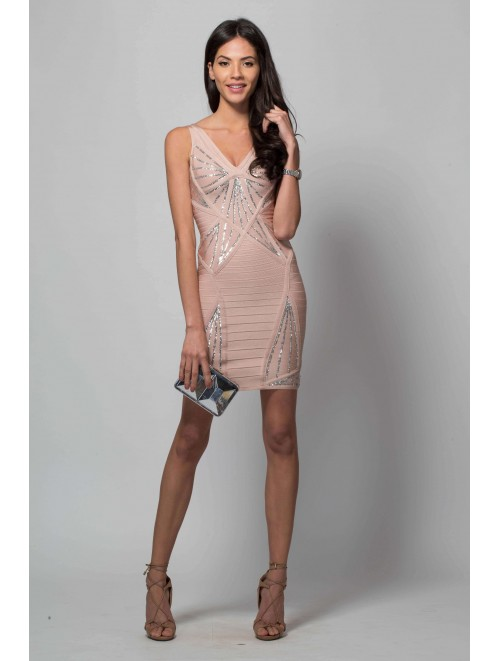 Nude Sequin Cut Out Bandage Dress