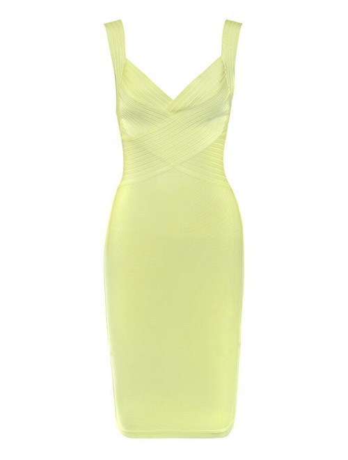 """Lime Yellow """"Lesley"""" Strappy Bandage Dress"""