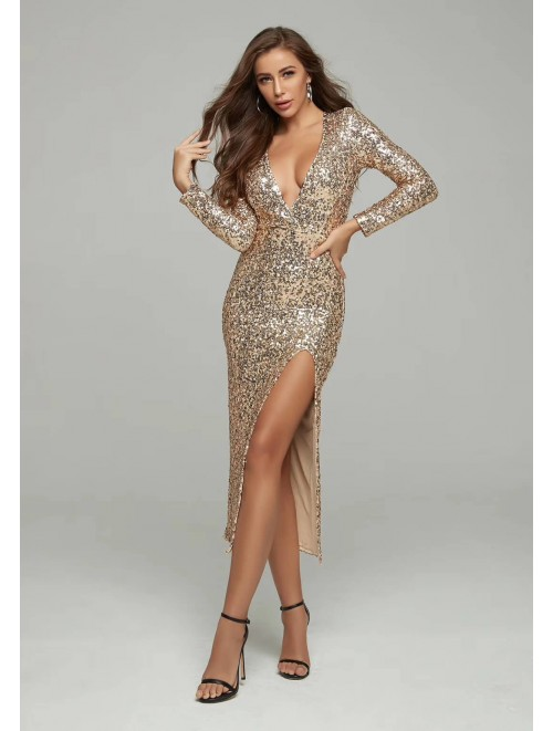 Gold Sequin Long Slit Maxi Dress