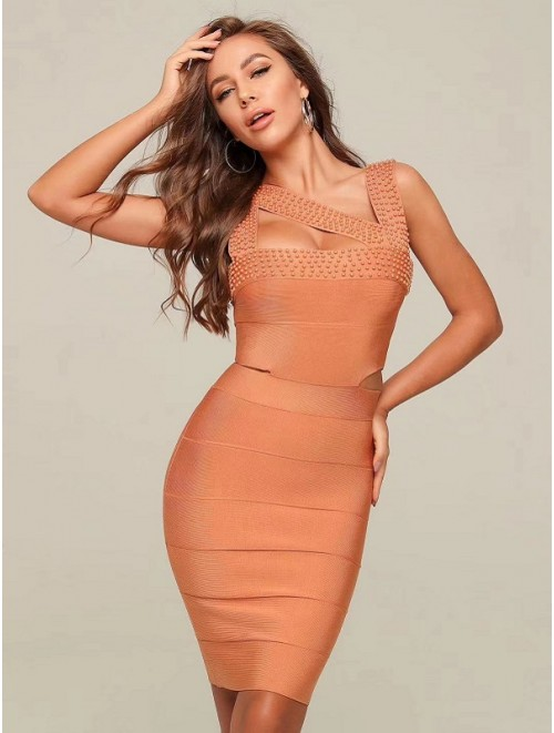 Disty Orange Cut Out Pearl Detais Bandage Dress