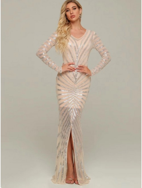 Nude Long Sleeve Sequin Evening Gown