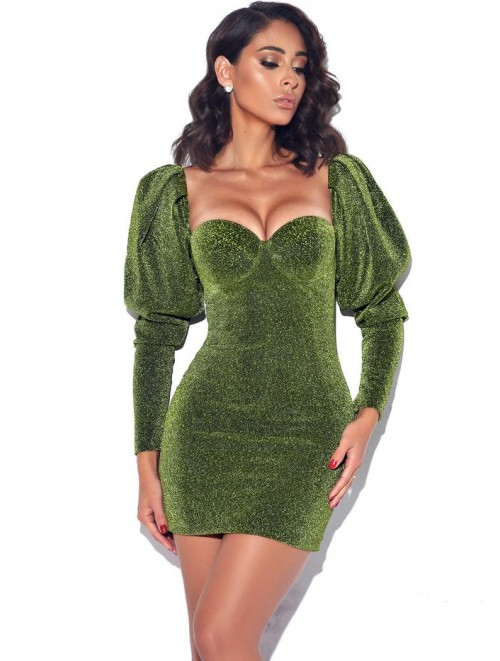 """Sabrina""Green Metallic Puff Shoulder Dress"